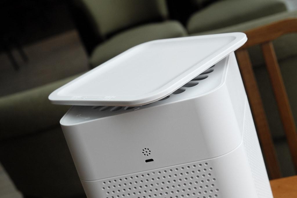 A white air purifier.