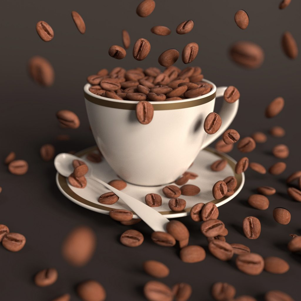 Coffee beans in a coffee cup.