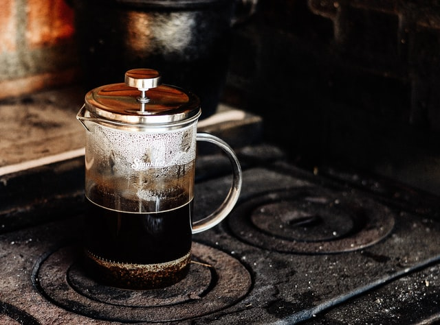 French press coffee on a stove