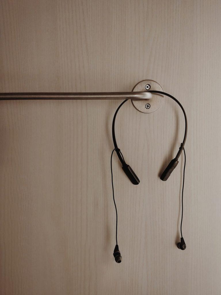 A pair of black headphones.