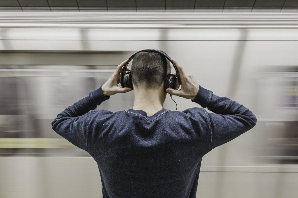 A man wearing headphones.