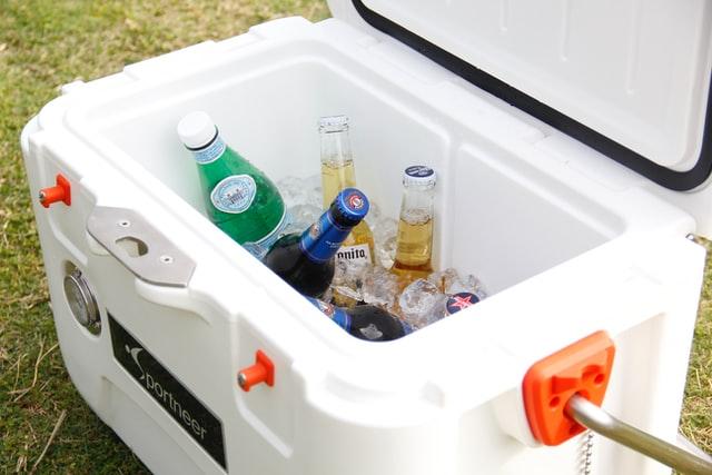 Beer bottles in a cooler.