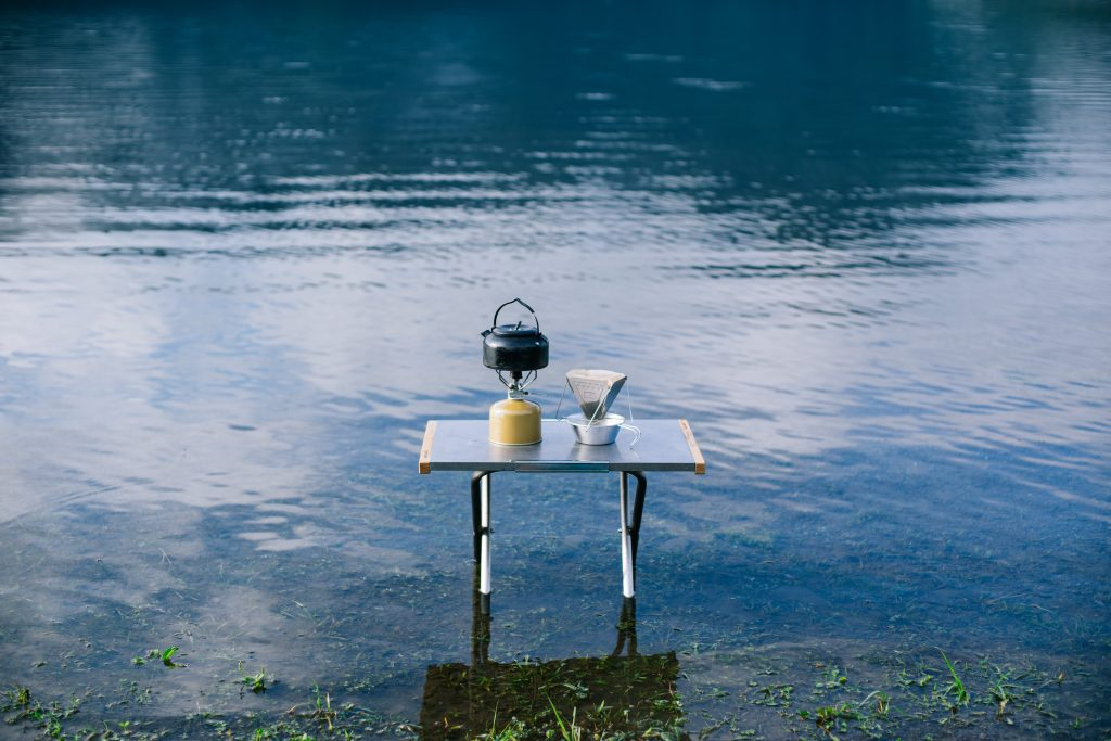 Camping table in water