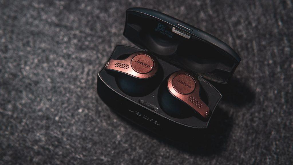 A pair of pink headphones.