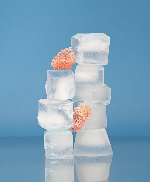Ice cubes stacked on top of each other.