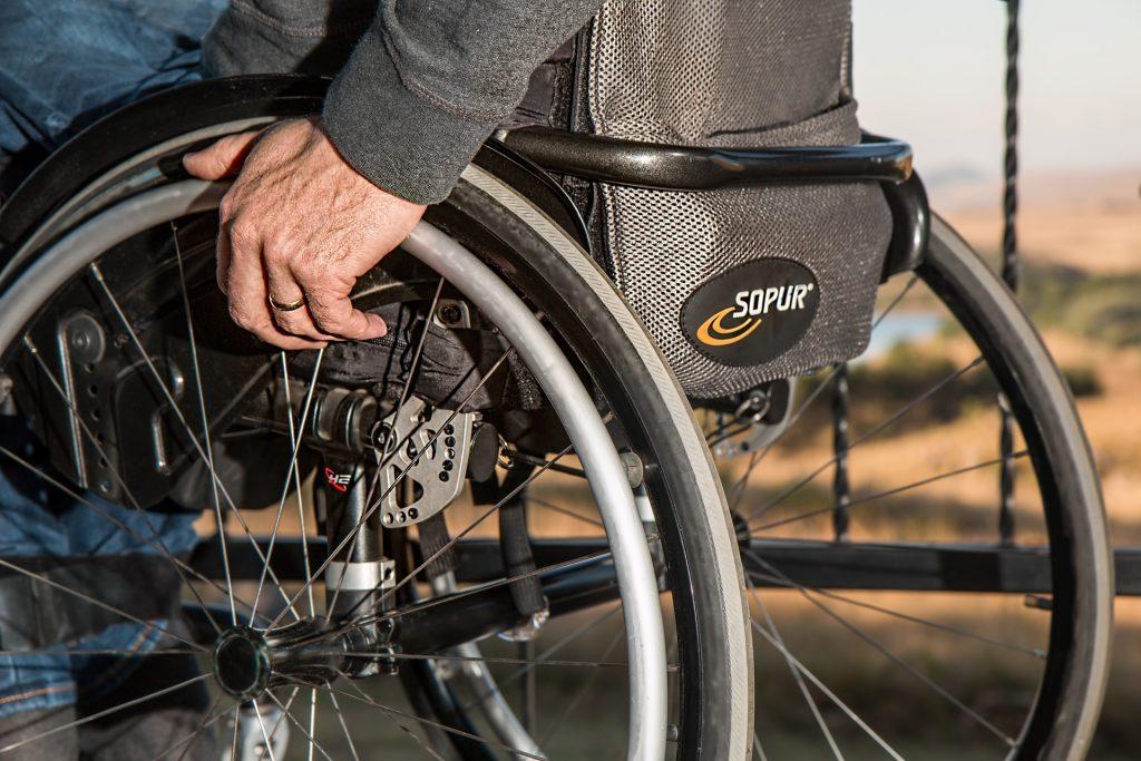 A person using a wheelchair.