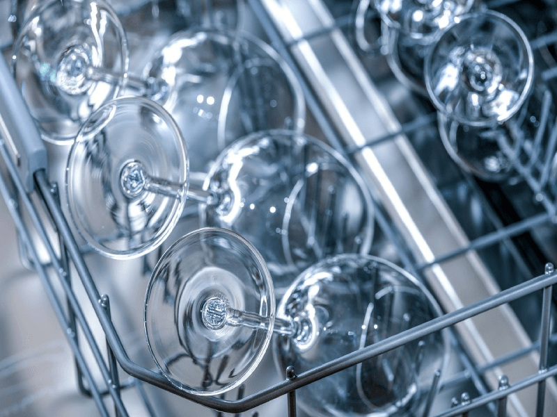 Wine glasses in the dishwasher
