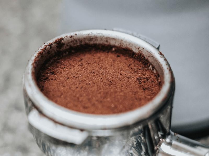 Close up of ground coffee