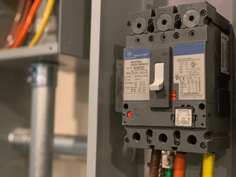 Transfer switch on wall