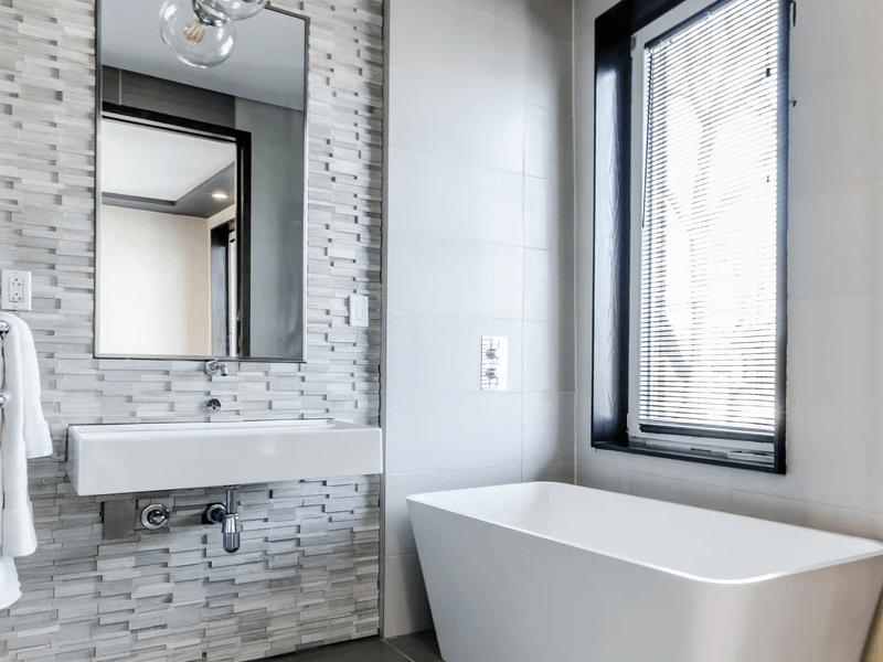 A white minimalist bathroom.